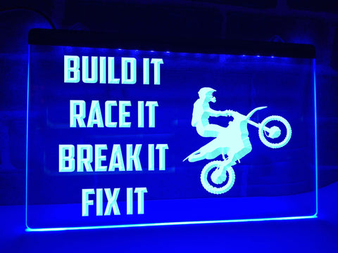 Image of Build It Race It Illuminated Sign