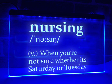 Nursing Definition Illuminated Sign