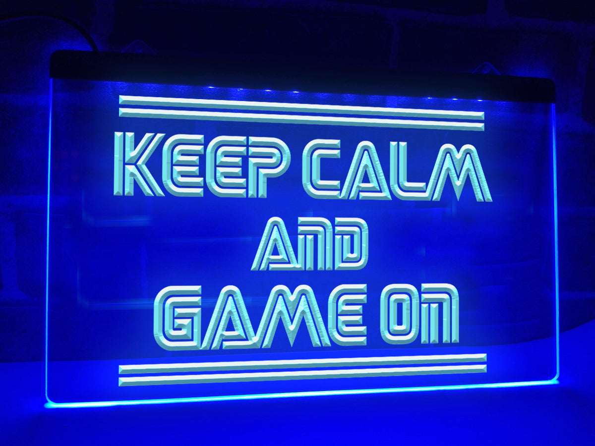Keep Calm and Game On Illuminated Sign