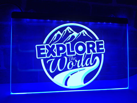 Image of Explore the World Illuminated Sign