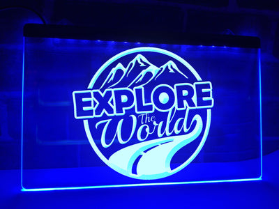 Explore the World Illuminated Sign