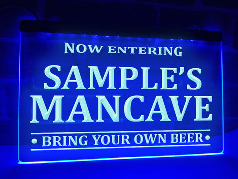 Image of Now Entering Man Cave Personalized Illuminated Sign