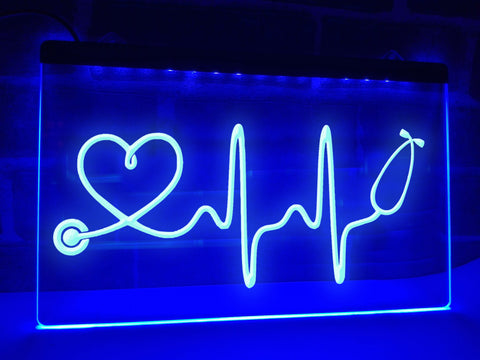 Image of Stethoscope Heartbeat Illuminated Sign