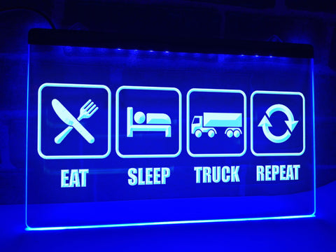 Image of Eat Sleep Truck Repeat Illuminated Sign