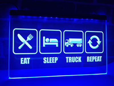 Eat Sleep Truck Repeat Illuminated Sign