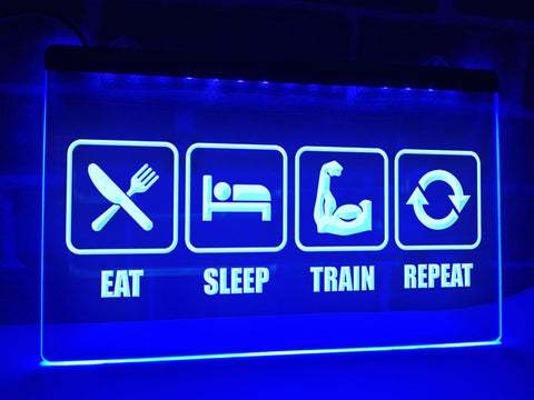 Image of Eat Sleep Train Repeat Illuminated Sign