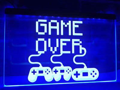 Game Over Controllers Illuminated Sign