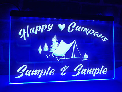 Happy Campers in Tent Personalized Illuminated Sign