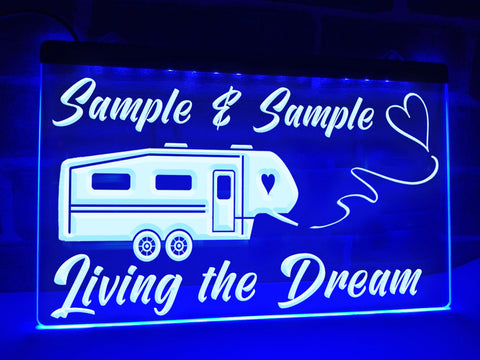 5th Wheel Living the Dream Personalized Illuminated Sign