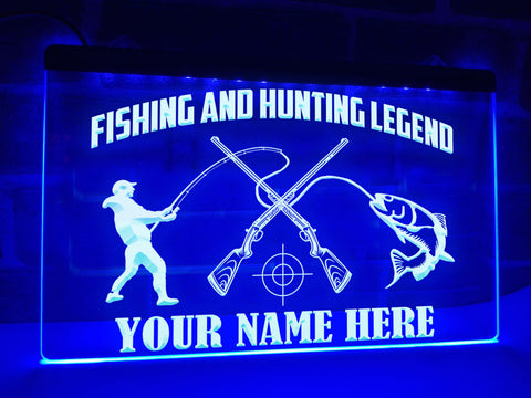Image of Fishing and Hunting Legend Personalized Illuminated Sign