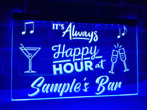 Happy Hour Bar Sign Blue