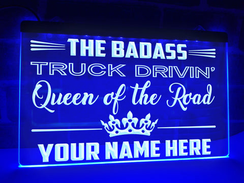Queen of the Road Personalized Illuminated Sign