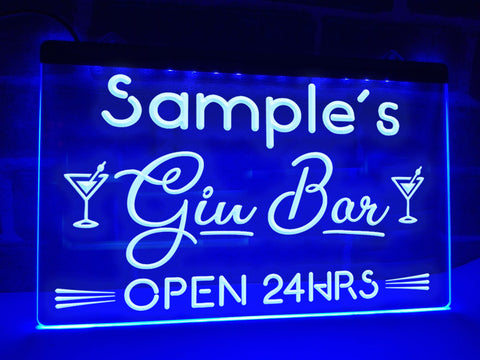 Image of Gin Bar Personalized Illuminated Sign