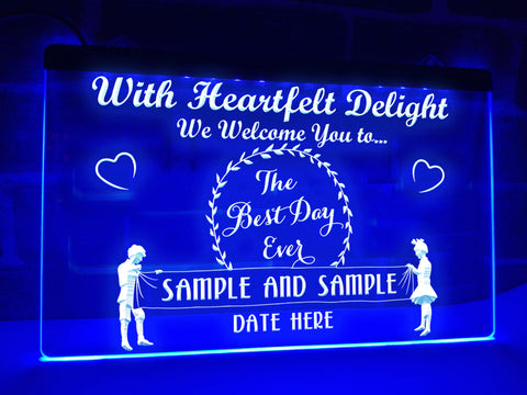 best day ever neon wedding sign blue