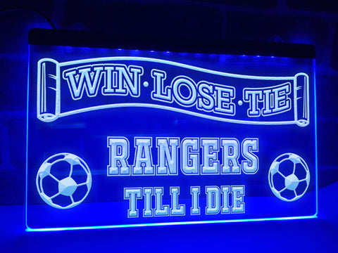 Rangers Till I Die Illuminated Sign