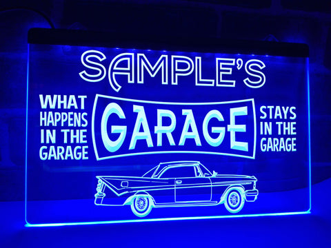 Car Garage Personalized Illuminated Sign