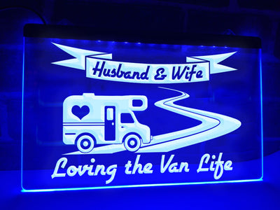 Husband & Wife Loving the Van Life Illuminated Sign