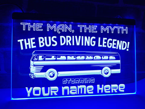 Bus Driving Legend Personalized Illuminated Sign