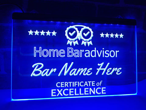 Image of Home Bar Advisor Personalized Illuminated Sign