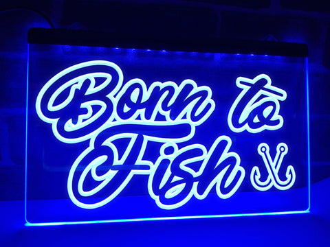 Image of Born to Fish Illuminated Sign