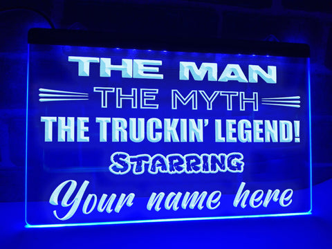 Image of Truckin' Legend Personalized Illuminated Sign