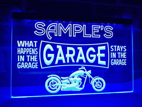 Image of Motorcycle Garage Personalized Illuminated Sign