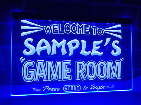 Image of Welcome To My Game Room Personalized Illuminated Sign