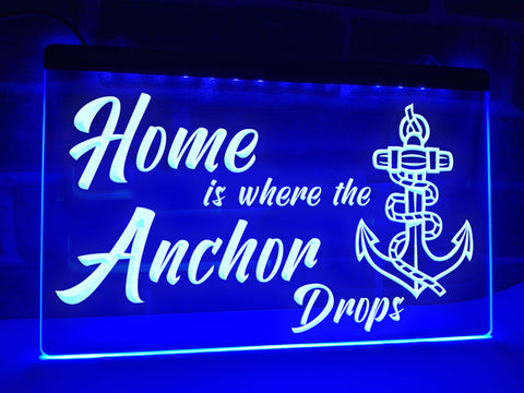 Image of Home is where the Anchor Drops Illuminated Sign