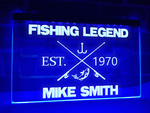 Image of Fishing Legend Personalized Illuminated Sign