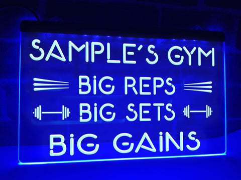 Image of Big Reps Big Sets Big Gains Personalized Illuminated Sign