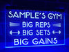 Big gains neon gym sign blue