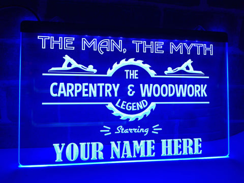 Image of Carpentry & Woodwork Legend Personalized Illuminated Sign