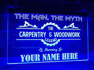 Carpentry & Woodwork Legend Personalized Illuminated Sign