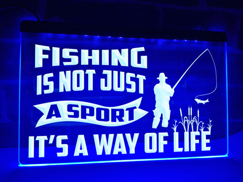 Image of Fishing is Not Just a Sport Illuminated Sign