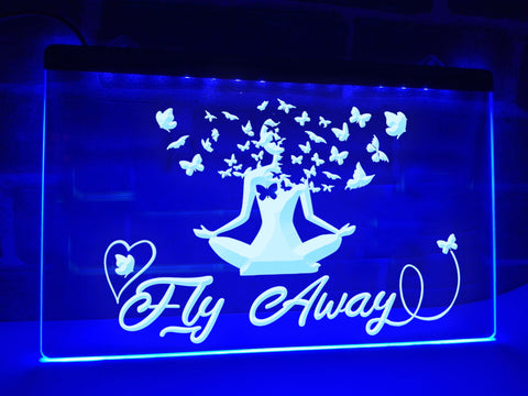 Fly Away Illuminated Meditation Sign