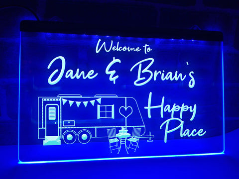 Image of Happy place personalized caravan trailer sign blue