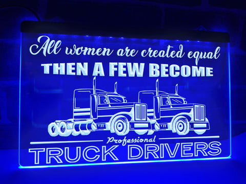 Image of Female Trucker Illuminated Sign