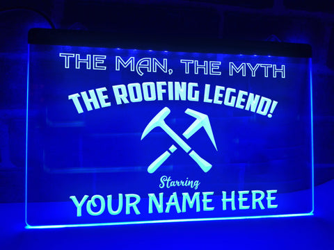 Image of The Roofing Legend Personalized Illuminated Sign