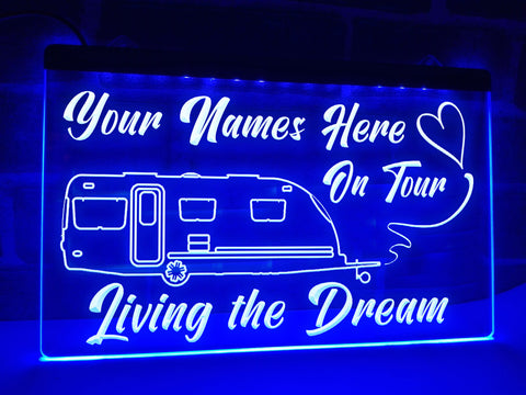Image of Modern Shape Caravan on Tour Personalized Illuminated Sign