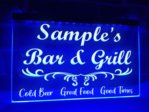 Image of Bar and Grill Personalized Illuminated Sign