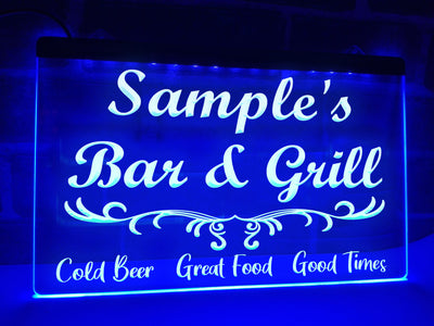 Bar and Grill Personalized Illuminated Sign
