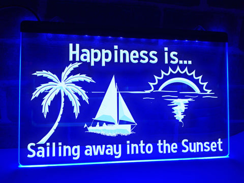 Happiness is Sailing away into the Sunset Illuminated Sign