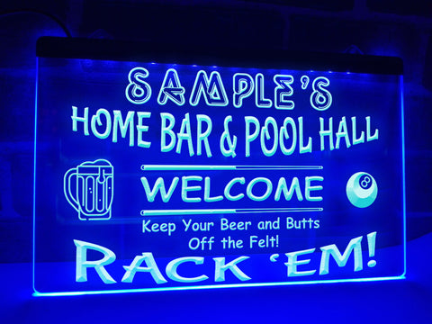 Image of Home Bar and Pool Hall Personalized Illuminated Sign