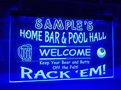 Home Bar and Pool Hall Personalized Illuminated Sign