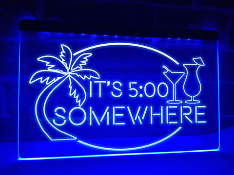 Image of It's 5 somewhere neon bar sign blue