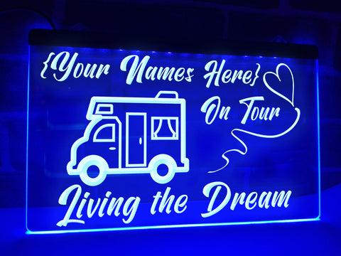 motorhome on tour personalized neon sign blue