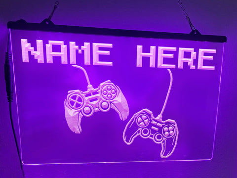 Image of Game Controllers Personalized Illuminated Sign