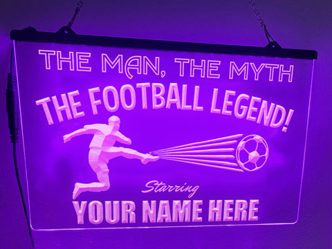 The Football Legend Personalized Illuminated Sign