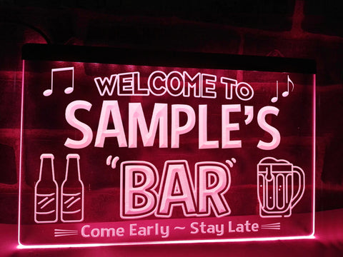 Personalized Neon Bar Sign Pink