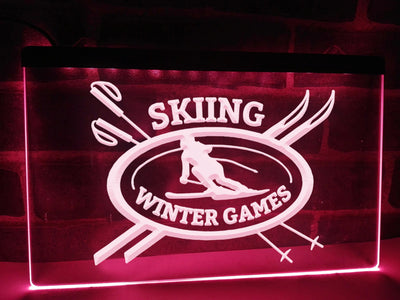 Skiing Winter Games Illuminated Sign